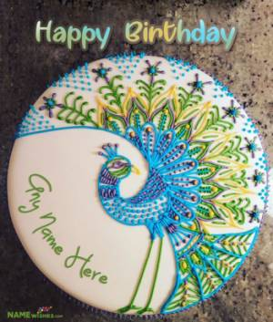 Colorful Peacock Birthday Cake With Name For Brother or Husband