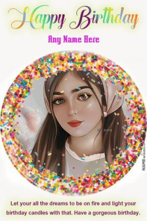 Confetti Birthday wish With Name and Photo Frame For Girls