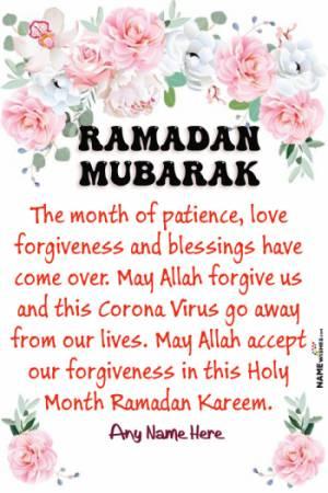 CoronaVirus Ramadan Mubarak Message With Name Edit Online