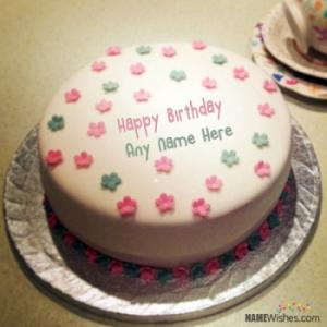 Cute Flowers Brithday Cake With Name