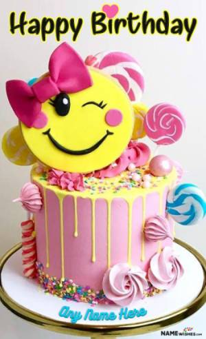 Cute Winky Smiley Birthday Cake For Girls With Name Free Online
