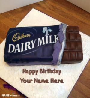 Dairy Milk Chocolate Bar Cake With Name Edit Online
