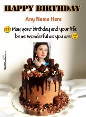 Dark Chocolate Birthday Cake Wish With Name and Photo For Friends