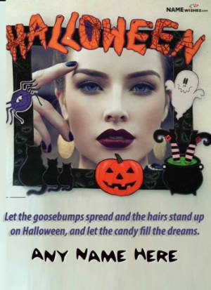 Deadly Halloween Greetings Wish With Name And Photo Free Online