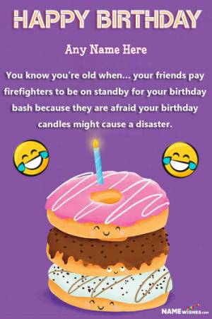 Donut Funny Birthday Wish With Name Editor Online