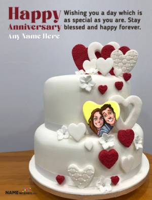Anniversary Cakes With Photo and Name - Love Couple Cakes