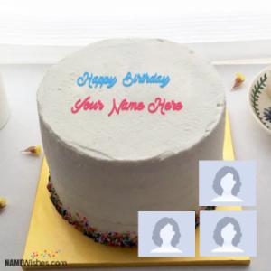 Elegant Ice Cream Birthday Cake With Name