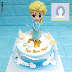 Elsa Birthday Cake With Name and Photo