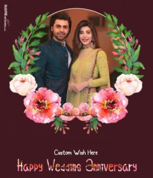 Floral Anniversary Wish With Photo Frame