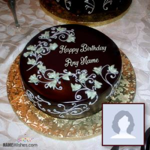 Floral Chocolate Birthday Cake With Name