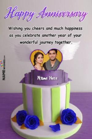 Fondant Cream Happy Anniversary Heart Cake With Name Photo And Wish
