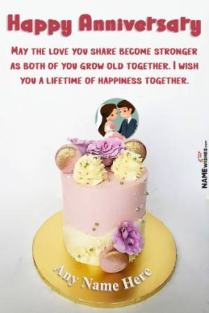 Fresh Flowers and Macrons Anniversary Cake With Name and Pic Edit