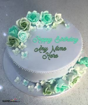Fresh Flowers Birthday Cake With Name For Wife or Sister