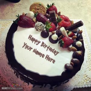 Fruity Chocolate Birthday Cake With Name