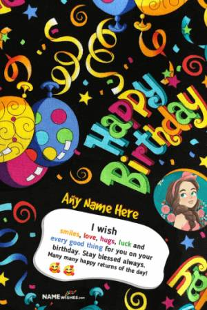 Funky Curvy Birthday Card With Name and Photo