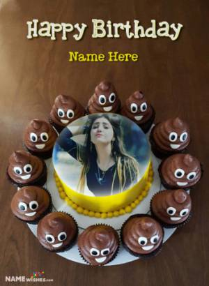 Funny Emoji and Poop Happy Birthday Cake With Name and Pic