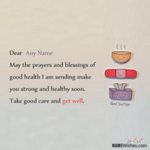 Get Well Soon Wishes With Name Writing Option