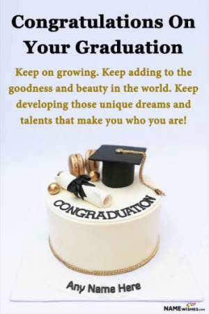 Graduation Cake For Bachelors or Masters With Name and Wish