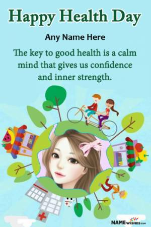Green Happy Health Day Wish with Name and Pic Edit