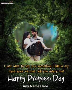 Green Heart Shaped Happy Propose Day Image with Name and Pic