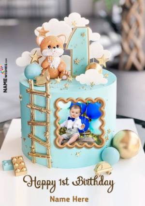 Happy 1st Birthday To Baby Boy With Name and Photo Edit