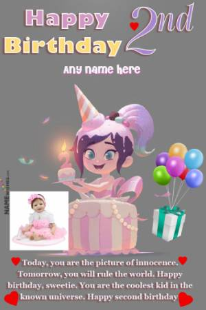 Happy 2nd Birthday Wishes For Baby Girl With Name