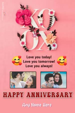 Happy Anniversary 2 Photos With Name and Wish Online