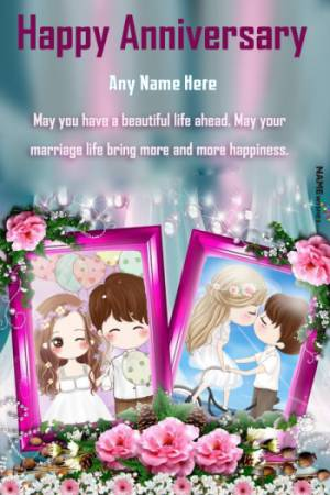 Happy Anniversary Double Photo Frame With Name Editor