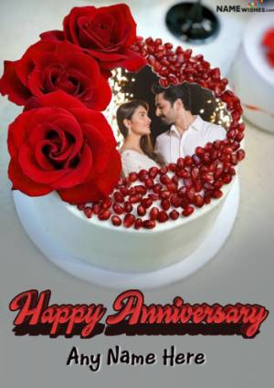 Happy Anniversary Red Pomegranate Cake With Name And Photo