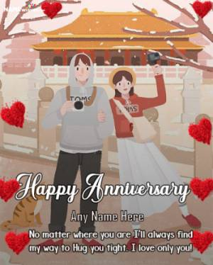 Happy Anniversary wish with Name and Full Photo Free Online Edit
