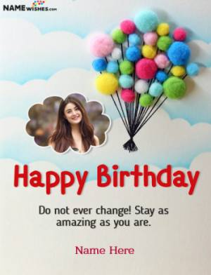 Happy Birthday Clouds and Balloons Wish With Name and Photo