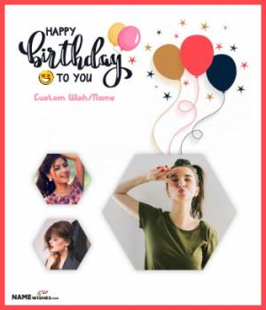 Happy Birthday Collage With 3 Photos and Name