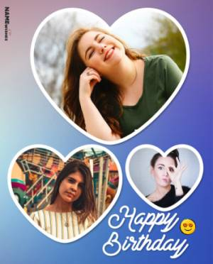 Happy Birthday Collage With 3 Photos in Heart Shape Frames