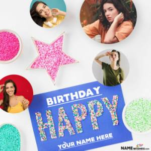 Happy Birthday Collage With 4 Round Photos