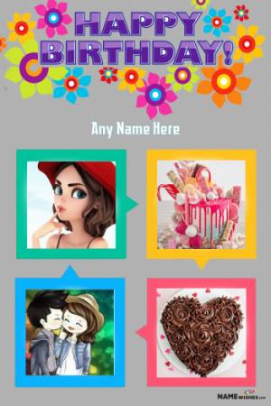 Happy Birthday Collage With Name Digital Card