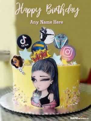 Happy Birthday Girls Cake With Name and Photo Edit Online Free