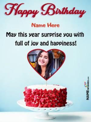 Happy Birthday Heart Frame Wish With Red Velvet Cake For Friends