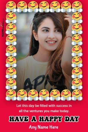 Happy Emoji International day Of Happiness Photo Frame with Name