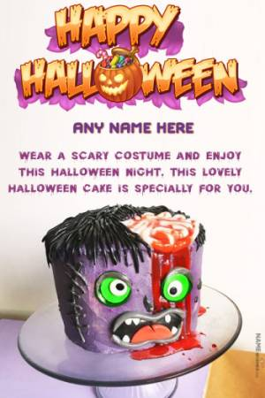 Happy Halloween Cake With Name and Pic Edit Online