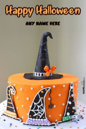Happy Halloween Hat Witch Cake With Wish And Name Edit Online
