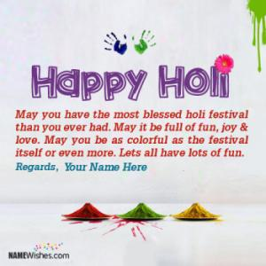 Colorful Happy Holi Wishes With Name Edit Online