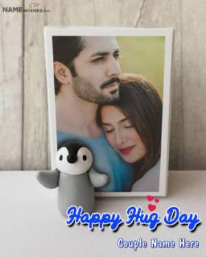 Happy Hug Day Photo Frame Penguin Free Online Edit