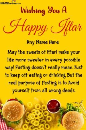 Happy Iftar Ramadan Mubarak Wishes With Name Edit Online