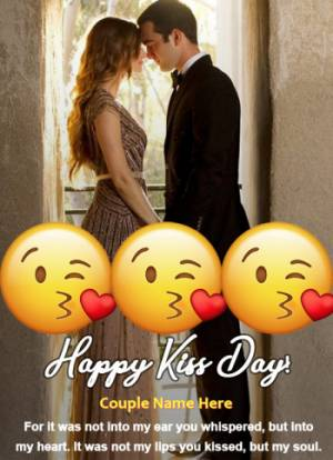 Happy Kiss Day Kiss Emoji With name and Photo Edit Online