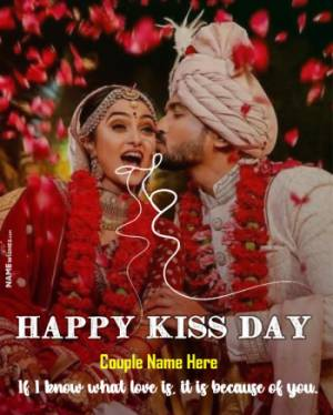 Happy Kiss Day Photo Frame Design With name and Wish Online