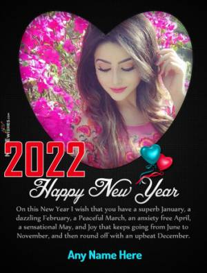 Happy New Year 2021 Heart Photo Frame with Name Edit Online Free