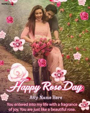 Happy Rose Day Flowers Photo Frame Wishes with Name Edit Online