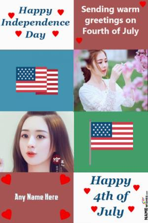 Happy US Independence Day Photo Collage With Name