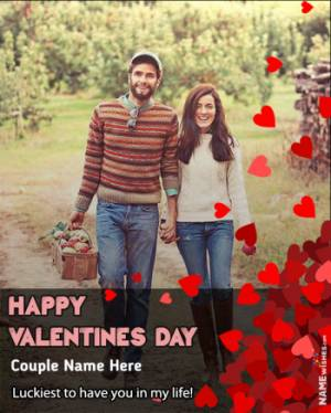 Happy Valentines Day Photo Frame with Name Edit Online Free