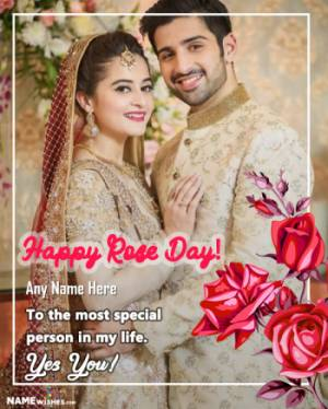 Happy Valentines Happy Rose Day Wish with Name and Photo
